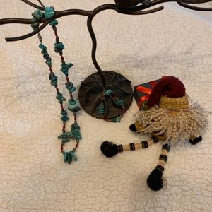 Chunky Turquoise & Red Coral Necklace & Bracelet